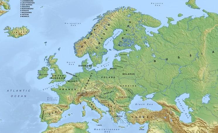 Fyzická mapa Evropy