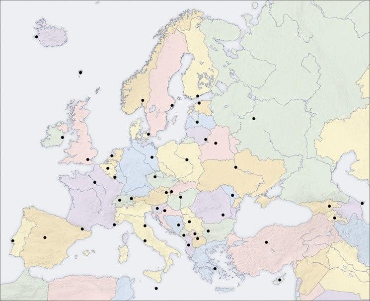Slepá mapa Evropy s hlavními městy