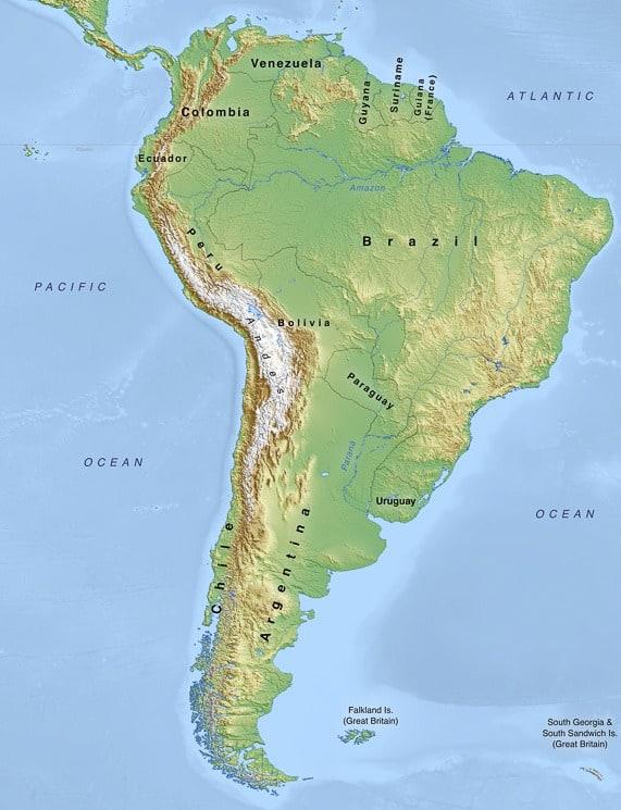 Fyzická mapa Jižní Ameriky