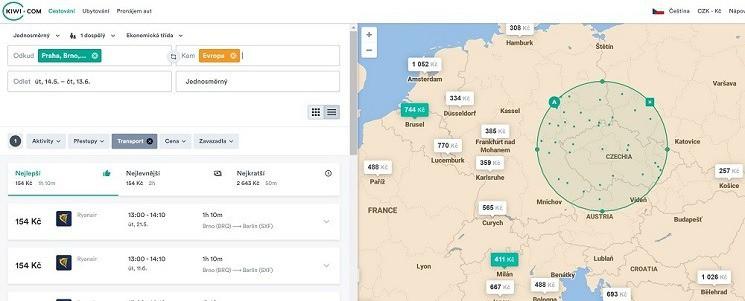 Vyhledávání pomocí mapy na Kiwi.com