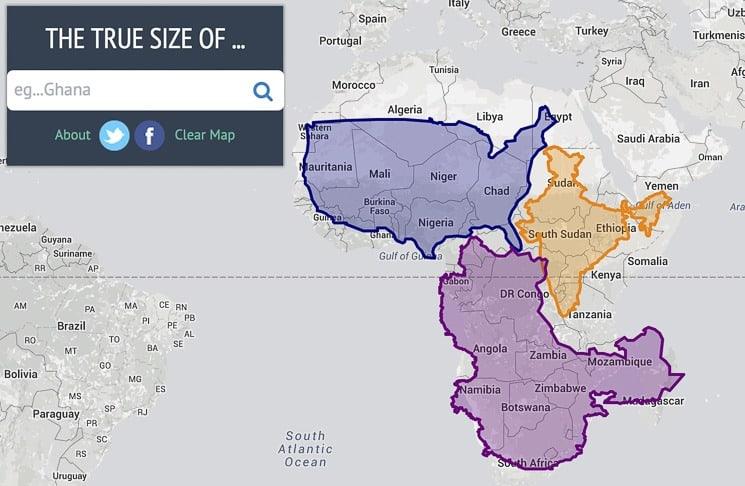 Porovnávání velikostí států - True Size
