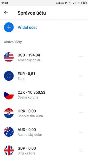 Revolut karta - Vedení účtů v mnoha světových měnách