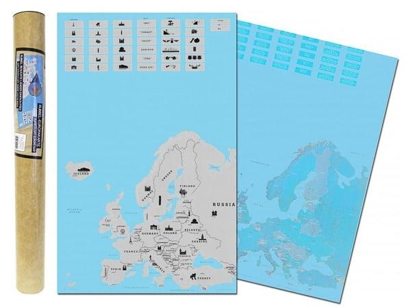 Stírací mapa Evropy Alum
