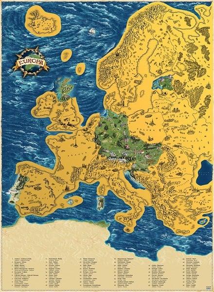 Stírací mapa Evropy deluxe zlatá