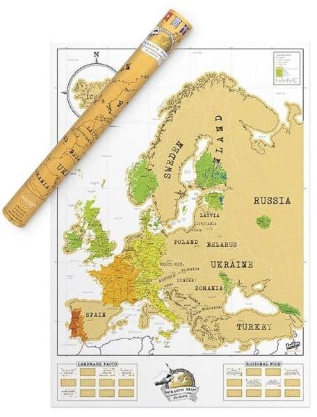 Stírací mapa Evropy originál
