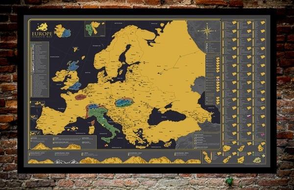 Stírací mapa Evropy zajímavá místa