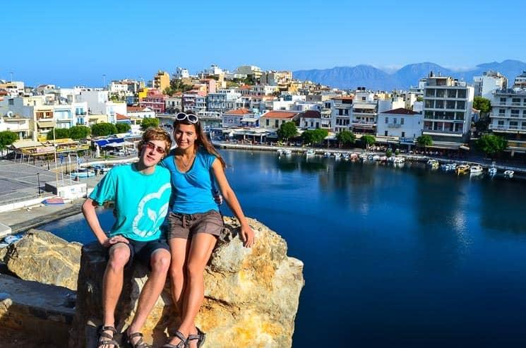 Malebné městečko Agios Nikolaos. Kréta, Řecko
