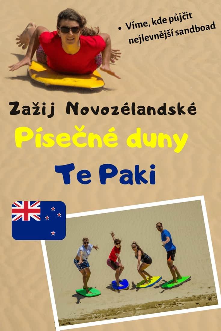 Písečné duny Te Paki - Nejlepší sandboarding na Novém Zélandu