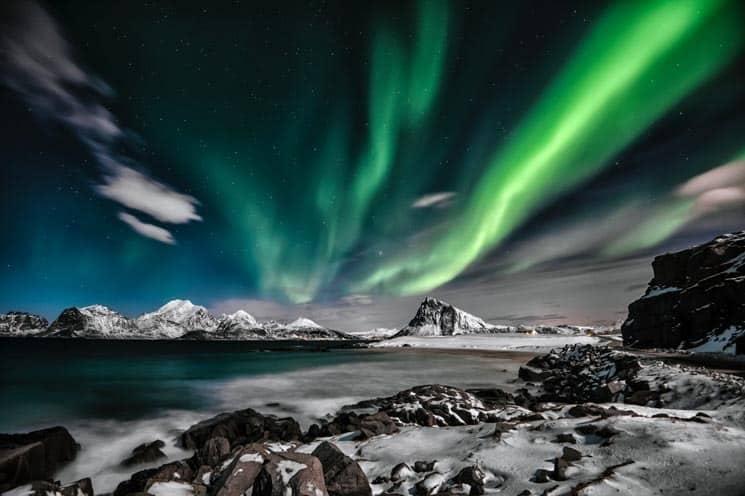 Norské Tromso je jedno z nejlepších míst pro pozorování polární záře v Evropě. Aurora Borealis.