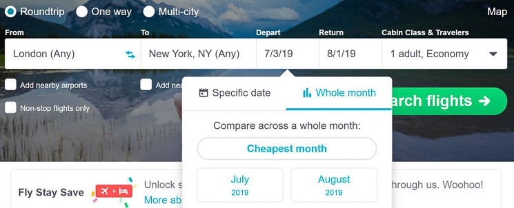 Skyscanner - cheapest month