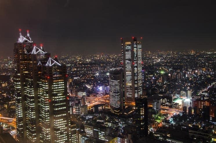 Výhled na Tokio z budovy městského úřadu