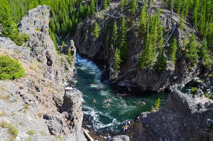 Firehole River is a popular place to swim. Is it on your list of things to do in Yellowstone?