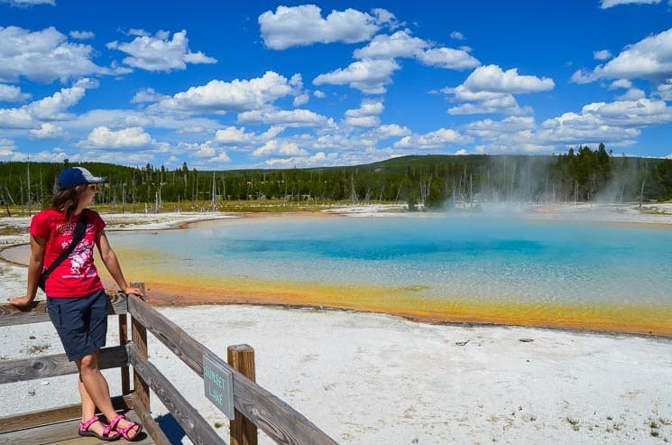 Sunset Lake at Black Sand Basin. Best things to see in Yellowstone National Park.