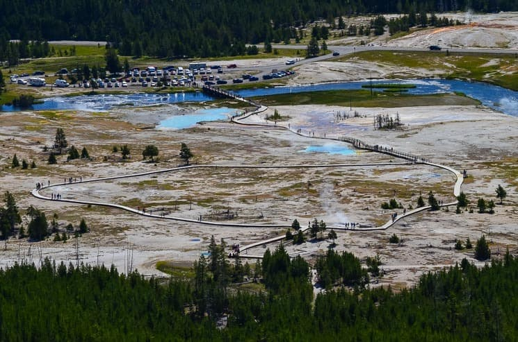 Biscuit Basin from Observation Point.  Best things to see in Yellowstone National Park.
