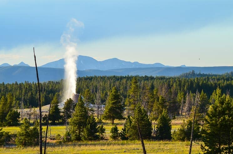 Firehole Lake Drive - White Dome Geyser eruption. Best things to see in Yellowstone National Park.