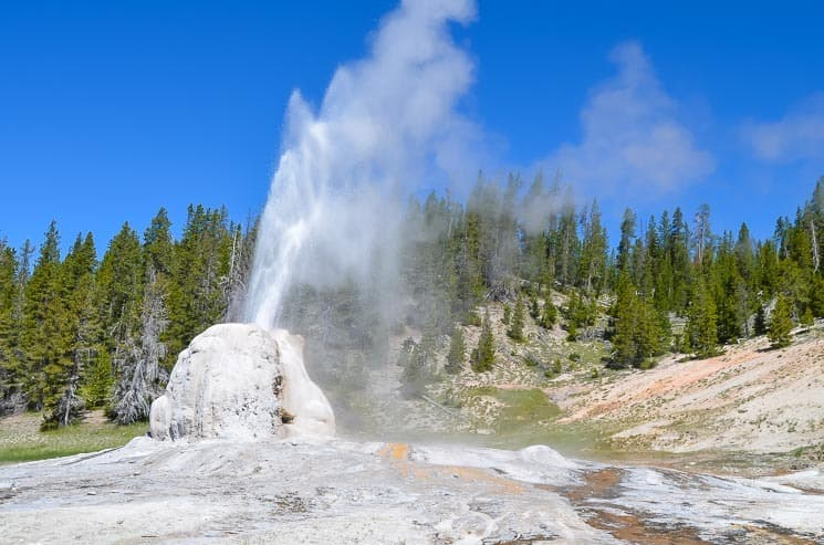Lone Star Geyser is well-hidden Geyser. Best things to see in Yellowstone National Park.