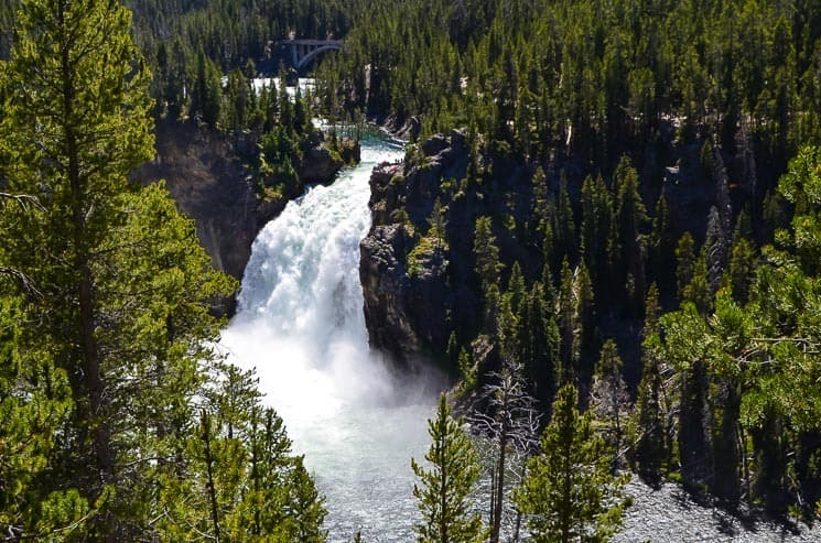 109 feet (33 m) high Upper Falls from the viewpoint. Best things to see in Yellowstone National Park.