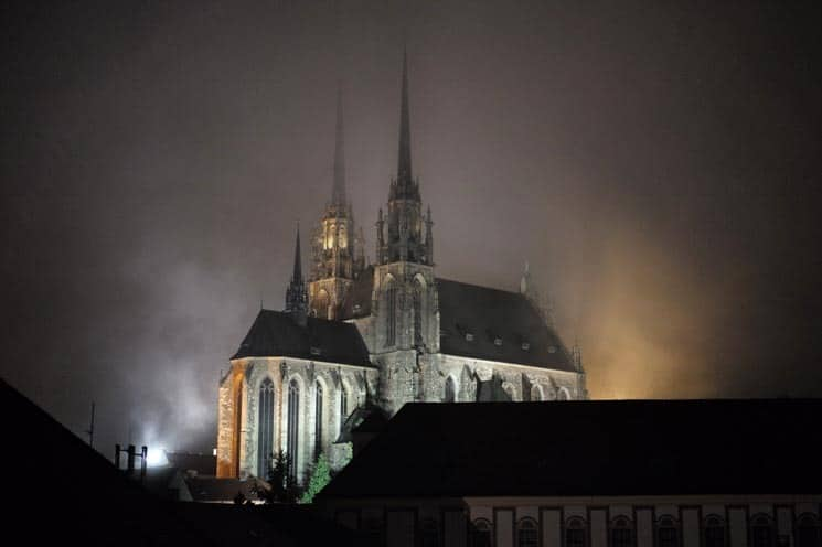 Petrov Cathedral at night. Places to visit in Brno.