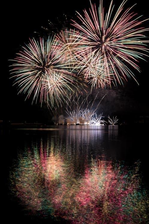 Ignis Brunensis Festival. Fireworks at Brno Dam / Reservoir.