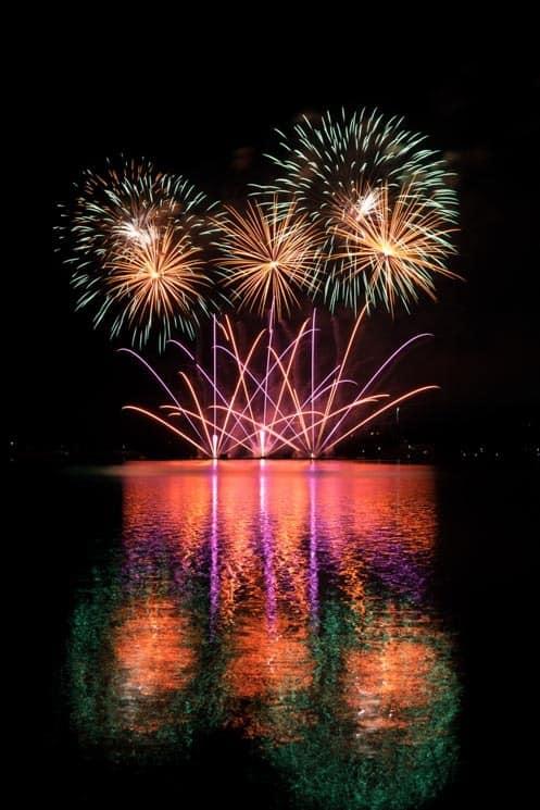 Ignis Brunensis Festival. Fireworks at Brno Dam.
