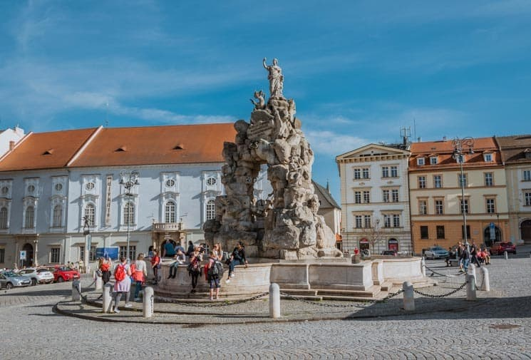 Baroque fountain in the center of Zelný trh. Things to Do in Brno