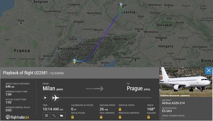 Sledování letadel - detaily o letu