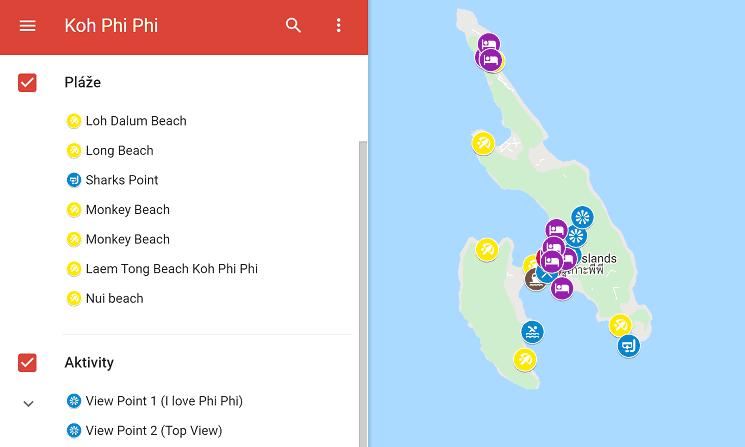 Mapa ostrova Ko Pi Pi