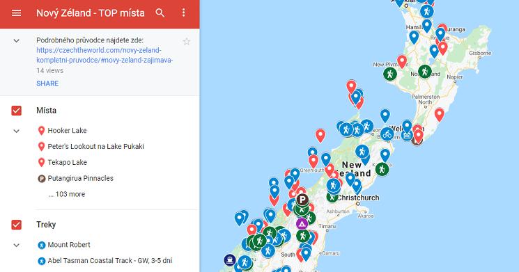 Mapa nejkrásnějších míst nového Zélandu