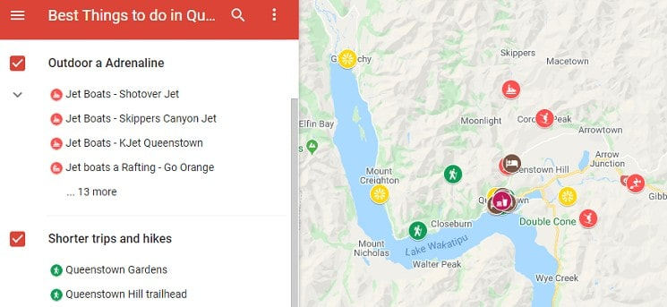 Best things to do in Queenstown map