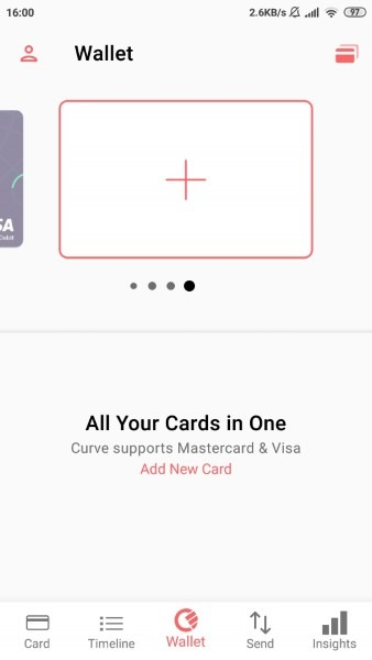 Adding cards in the Curve app