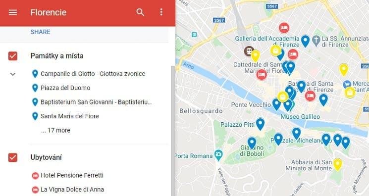 Florencie mapa