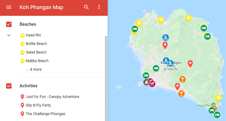 Top Things to do in Koh Phangan Map