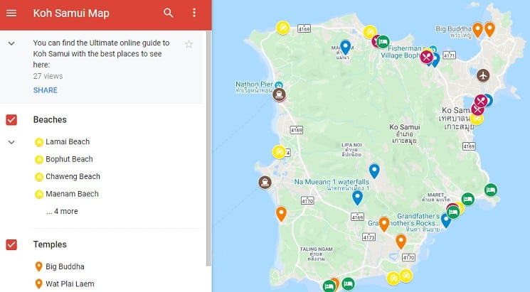 Best Things to do in koh Samui map