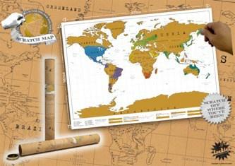 Stírací mapa světa - dárek tchýni