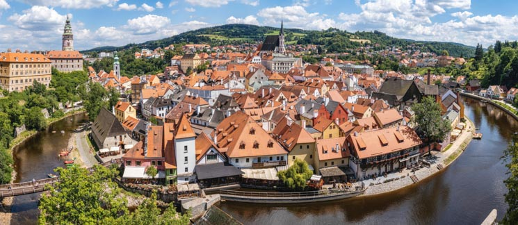View of Český Krumlov and the Vltava River - Charming Czech town