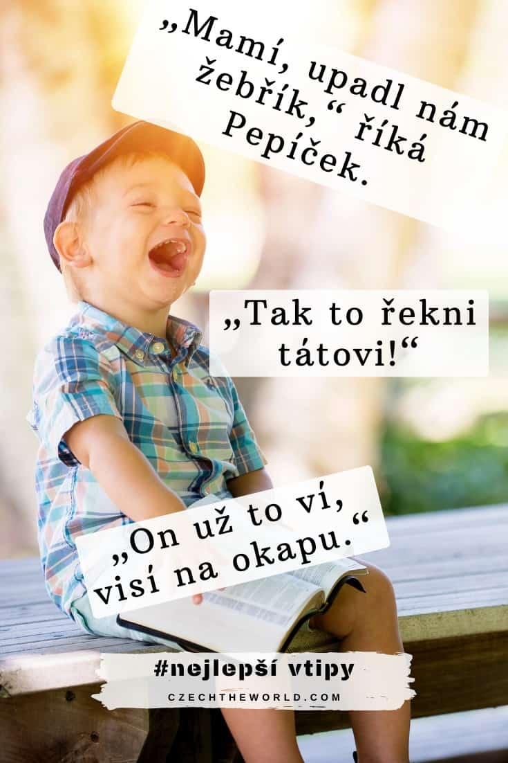 """Vtipy o Pepíčkovi: """"Mamí, upadl nám žebřík,"""" říká Pepíček. """"Tak to řekni tátovi!"""" """"On už to ví, visí na okapu."""""""