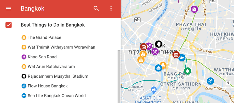 Map of the best things to do in Bangkok (1)