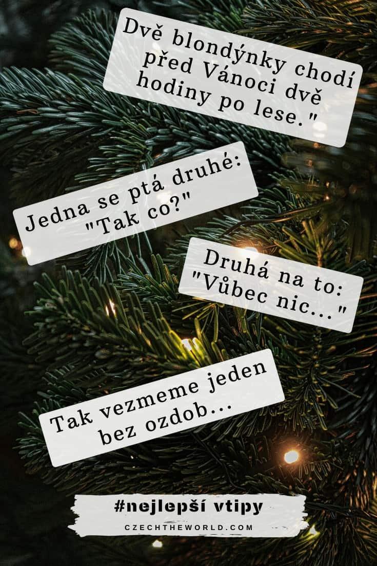 Dvě blondýnky chodí před Vánoci dvě hodiny po lese. Jedna se ptá druhé_ _Tak co__ Druhá na to __Vůbec nic..._ _Tak vezmeme jeden bez ozdob...
