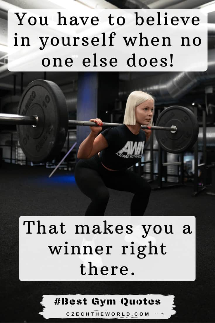 "Best Gym Quotes - ""You have to believe in yourself when no one else does – that makes you a winner right there."" – Venus Williams (1)"