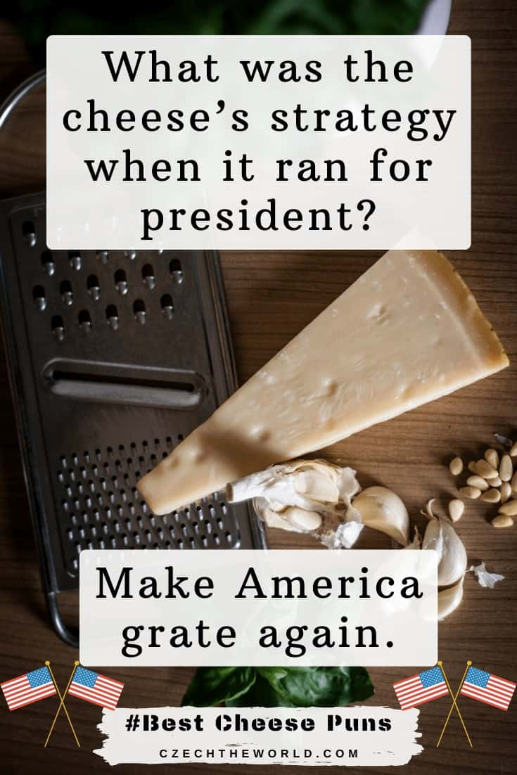 Cheese Puns - What was the cheese's strategy when it ran for president_ Make America grate again.