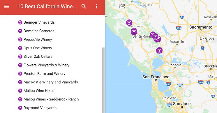 Best California wineries map