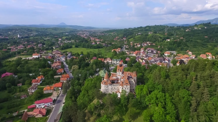 Aerial view of Bran Castle