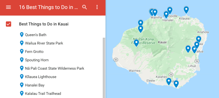 Map of the best things to do in Kauai
