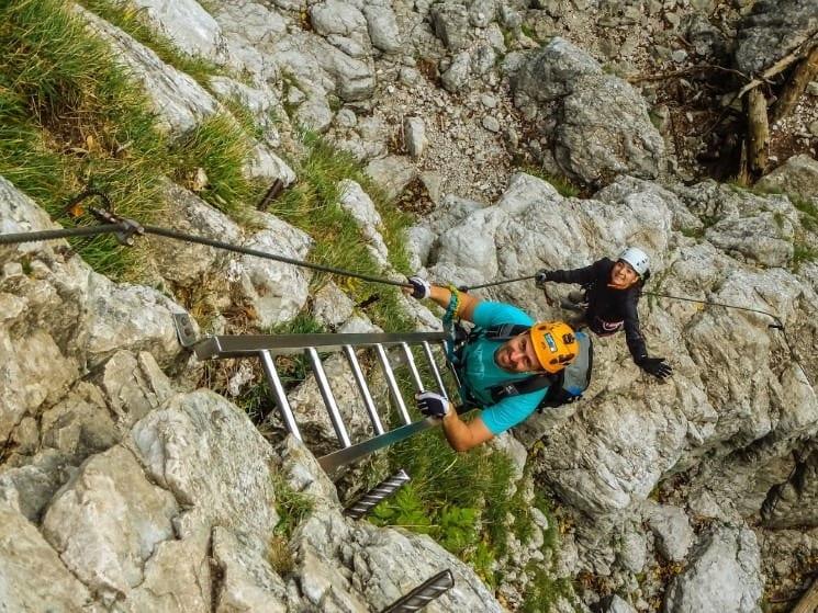 Ferrata Drachenwand - žebříky na prvním úseku