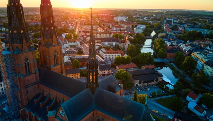 Uppsala Sunset by the Cathedral in Uppsala, Sweden