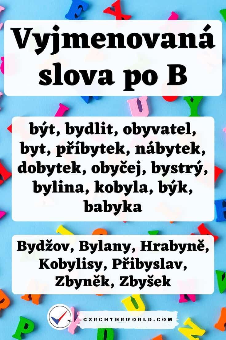 Vyjmenovaná slova po B - přehled s obrázky a procvičování